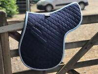 Shires navy with blue and white edging size large numnah