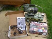 Badger Air brush and compressor