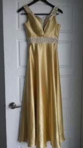 Elegant gold satin evening dress with silver sequin