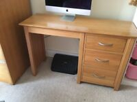 Solid Oak desk or dressing table in excellent condition