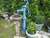 Ornate Stone Bird Bath and Cast- Iron Water Pump