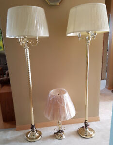 3 Vintage Brass Finish Floor and Table Lamps
