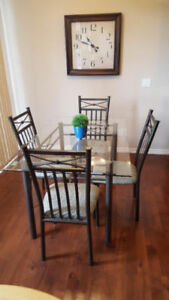 Glass Dining Table /w 4 Chairs