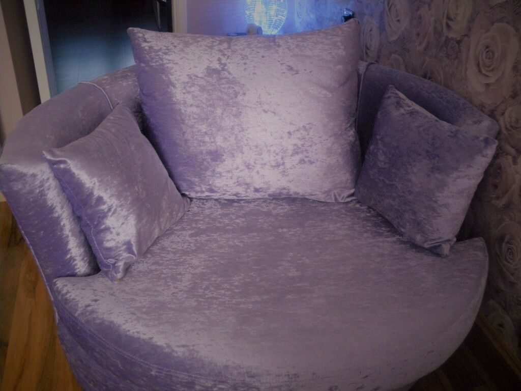 lilac crushed velvet cuddle chairin Plymouth, DevonGumtree - crushed velvet lilac cuddle chair ,this is in absolutely pristeen condition, swivel a bit stiff due to not being sat or swivelled in .sell £250 note NOT from e bay!!!!