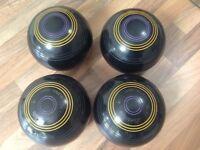 Excellent set of 4 Henselite Lawn Bowls Size 5 Stamped 2022.