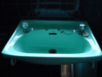 Genuine 1960s turquoise basin with white enamel cast wall supports
