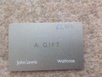 John Lewis and Waitrose gift card, value of 2500£