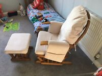 Rocking Chair - Cream / White - with matching foot stool