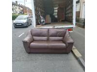 2 seater sofa in brown leather