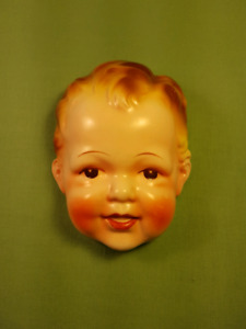 Vintage 1950s Chalkware Baby Face Wall Hanging