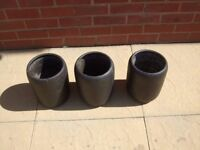 3 x BLACK POTTERY GARDEN POTS - Approx. 12 tall - look really good in garden - great condition