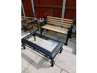 Heavy thick cast iron bench and wrought iron glas top table
