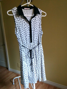 Ardene white with black ornament dress