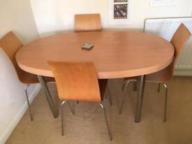 Dining wooden circular table + 4 matching chairs