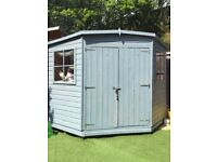 Treated 8x8ft Corner Shed Summerhouse Grey/Blue