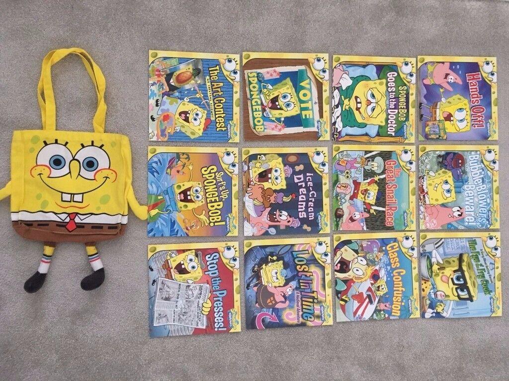 bundle of spongebob squarepants books and carry bag in oakwood