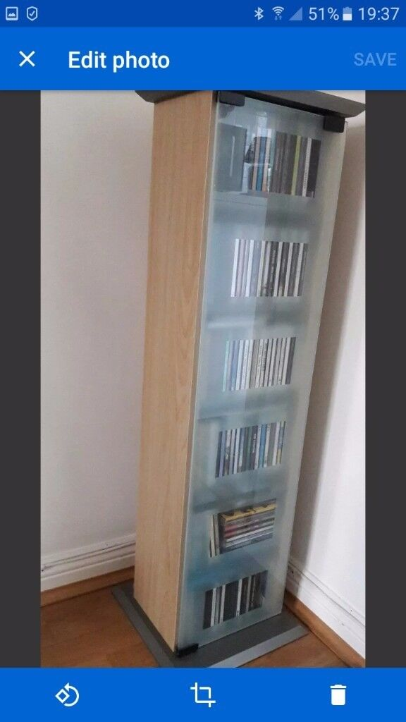 Storage Media Cd Dvd Cabinet Unit Adjustable Shelves Glass Door