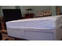 Single divan bed with mattress and underbed storage