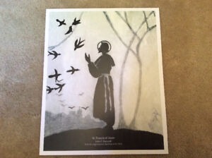 St Francis of Assisi Prints from original pencil sketch 1950's
