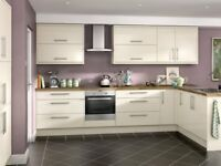 Complete cream gloss kitchen package £895. Includes 11 x units and appliances.