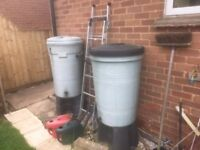 Water butts complete with fittings 2 large one small