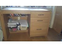 Set of Desk and 2 drawers Cabinet Oak Effect.
