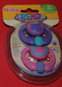 6mo Nuby Orthodontic Pacifiers Pink & Purple - Sealed, New