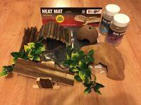 Reptile Lizard Accessories Including Heat Mat, Hides, Plants, Bug Grub