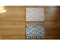 Mosaic Border Tiles - Black, Grey and White. Light Brown and White. 20cm * 15cm. Grouted or Plain.