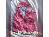 Girls next light weight jacket 12-18 months