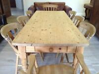 Pine farm house table and chairs