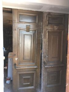 Two antique solid doors