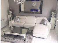 DFS White Leather Kalamos Sofa