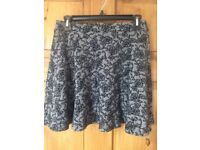 Black and Grey floral Topshop skirt, size 10