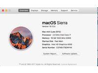 Mac Mini 2012 2.3 i7 Quad Core 256Gb SSD 1TB HD 16GB Ram, Very Fast, Boxed