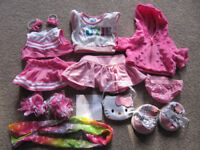 Bundle 1- set of BABW or equivalent bear clothes - pink/white with kitty trainers-£10