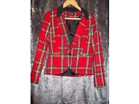 Select, Red, White and Yellow Tartan Patterned Blazer Jacket, Size 10