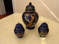 Nice set of 3 Cobalt Blue and Gold Porcelain Oriental Ginger Jars