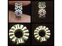 Genuine pandora spacer charm with purple stone