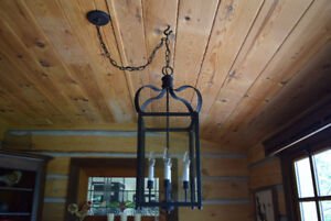 Wrought Iron & Glass Chandelier