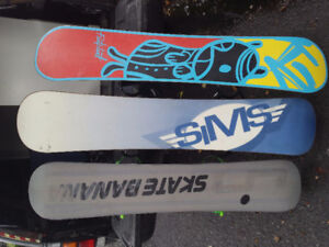 3 snowboards with bindings for sale