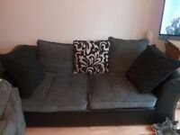 Sofa - grey and black foux leather