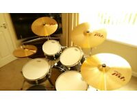 "S.P. Drum Kit + Paiste Cymbals + Evans drum heads...""BARGAIN"""