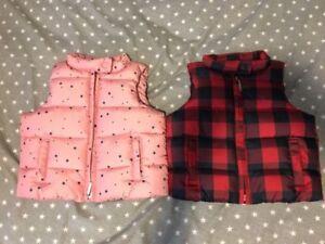 Baby Gap Toddler Puffer Vest 18-24 Months Stars pink