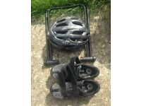 Cycling tool kit, giro helmet and shoes