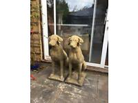 A pair of Devonshire stone hunting dogs