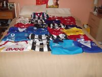 JOBLOT CARBOOT 23 ASSORTED FOOTBALL SHIRTS ALL OFFICIAL ALL MINT SOME NAMED AND NUMBERED ALL SIZES