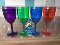 Brand new 4 acrylic wine glasses