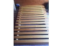 DOUBLE WOODEN SLATTED FUTON FOLDABLE SOFA BED