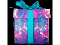 LUSH Astronomical Gift Set - 4 amazing bath products in a gift box tied up with a big blue ribbon